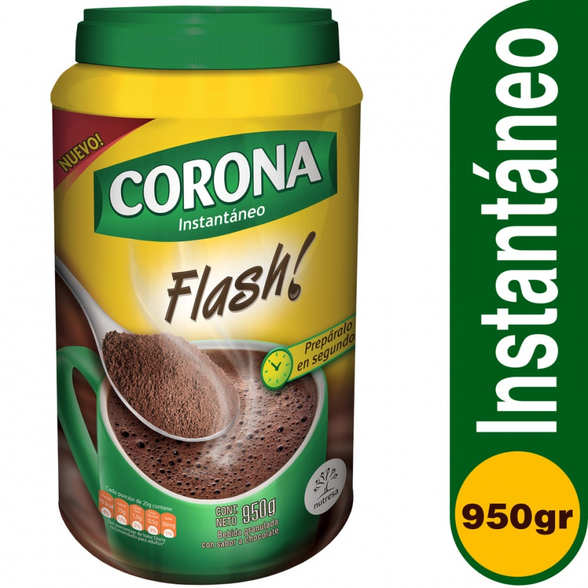 Chocolate Corona Flash. Tarro x 950g