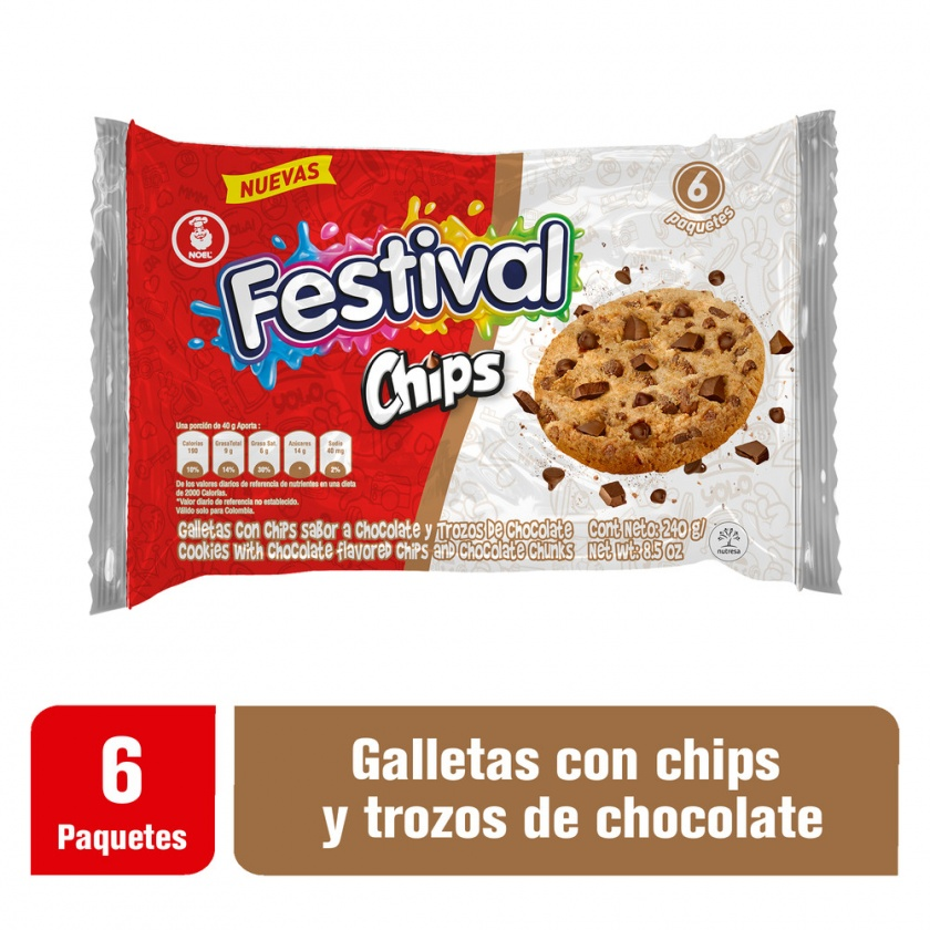 Galletas Chips Festival x240g 6 Paquetes