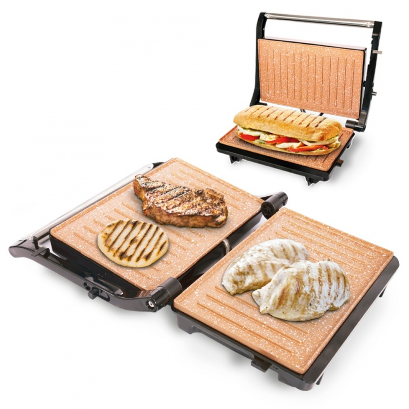 Asador Grill Panini Doble Antiadherente 180° Copper Negro Home Elements