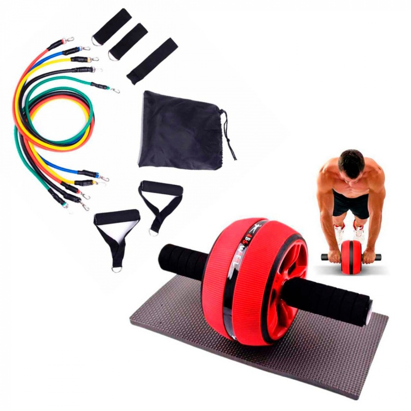 Kit Set Rueda Abdominal AB Wheel mas Bandas Tubulares 11pcs